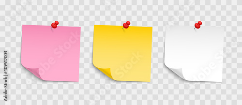 Obraz Colored sheets of note papers with push pin. Collection of sticky notes with curl and shadow. Realistic paper stickers for your message. Design element for advertising and promotional. - fototapety do salonu