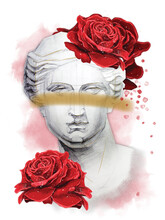 Venus Head Statue With A Red Roses Flowers On A White Background.