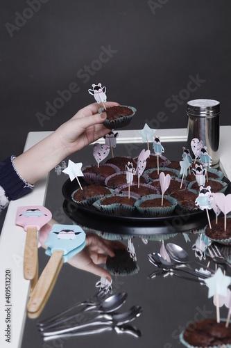 Obraz na plátně Przyjęcie urodzinowe dziecka muffiny