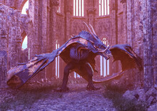 Dragon Is Walking In The Cathedral Ruins