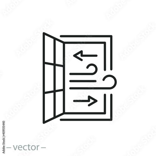 open window icon, room ventilation, sanitary hygiene, airing premises, thin line Fototapeta