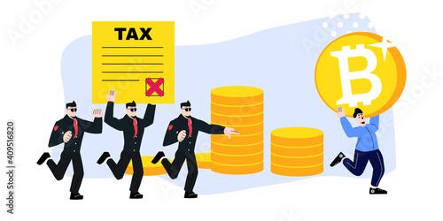 Obraz na płótnie Man with Bitcoin running away from Tax Collectors