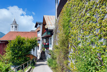 Wall With Ivy In Touristic Village Wolfgang Am Austrian Wolfgangsee
