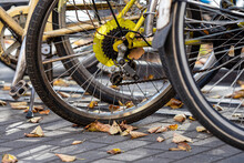 Close Up Row Of Bicycle Wheels Parking On The Sidewalk