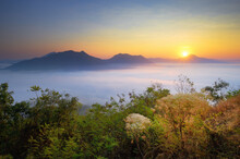 Misty Landscape View From Phu Thok Hill Viewpoint, The Famous Viewpoint Of Chiang Khan City In Loei Province, Thailand