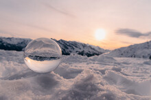Sunset In The Mountain With Lensball. Panorama With Golden Sun.
