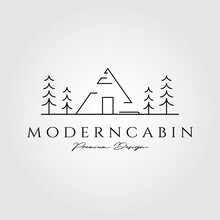 Minimalist Modern Cabin Logo Vector Illustration Design, Line Art Concept