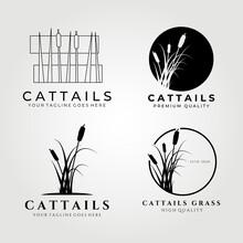 Cattails Logo Set Bundle Vector Illustration Design, Cattail Icon