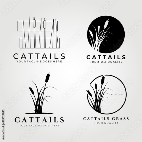 Photographie Cattails logo set bundle vector illustration design, cattail icon