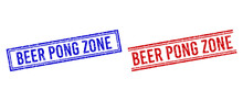 BEER PONG ZONE Rubber Watermarks With Grunge Texture. Vectors Designed With Double Lines, In Blue And Red Versions. Caption Placed Inside Double Rectangle Frame And Parallel Lines.