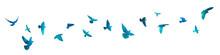 Bird Watercolor. A Flock Of Blue Birds. Mixed Media. Vector Illustration