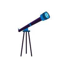 Isolated Telescope Icon. Spatial Observation Instrument - Vector