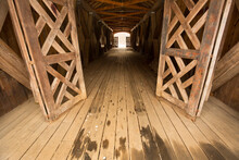 Inside The Comstock Covered Bridge In Colchester, Connecticut.