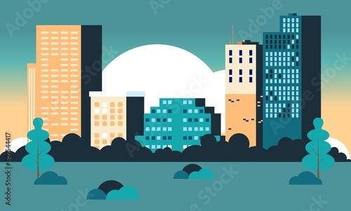 Fototapeta City skyline landmarks illustration. Building illustration