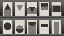 Trendy Set Collection Of Abstract Creative Minimalist Artistic Hand Painted Composition, Geometric Shape Ideal For Wall Decoration, As Postcard Or Brochure Design, Monochrome Vector Illustration