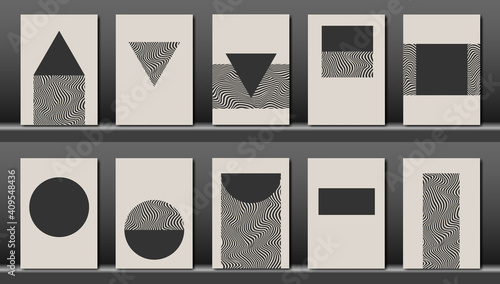 Obraz Trendy set collection of abstract creative minimalist artistic hand painted composition, geometric shape ideal for wall decoration, as postcard or brochure design, monochrome vector illustration - fototapety do salonu