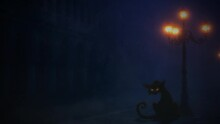 Black Alley Cat By A Lamp Post 4K Loop Features A Black Cat With Blinking Yellow Eyes Sitting Under A Lamp Post In The Fog And Mist In A Loop