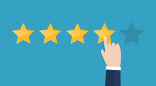 Businessman Hand Pointing Stars Rating On Blue Background. Increase Rating, Ranking, Review. Vector Illustration