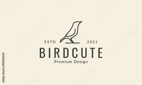Stampa su Tela simple line bird raven unique logo symbol icon vector graphic design illustratio