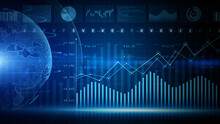 Digital Data Financial Investment Trends, Financial Business Diagram With Charts And Stock Numbers Showing Profits And Losses Over Time Dynamically, Business And Finance. 3d Rendering