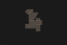 Number 14 Logo, Monogram Number 14 Logo Multi Line Style, Usable For Anniversary And Business Logos, Flat Design Logo Template, Vector Illustration