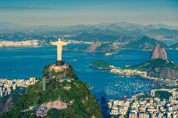 Aerial helicopter panorama of Botafogo Bay with Christ and Sugar Loaf Mountain in Rio de Janeiro, Brazil