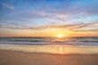 canvas print picture - Sun and sea sunset background.