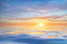 Sun And Sea Sunset Background.