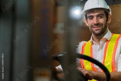 Fototapeta engineer staff male warehouse worker in hard hat working