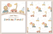 Drive-by Birthday Party Invitation And Coordinated Pattern. Drive Through Birthday Parade Invitation With Cute Safari Animals.