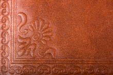 Leather Floral Pattern Deep Red Color Background