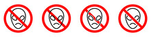 No Alien Icon. UFO Ban Icon. UFO Is Prohibited. Stop Alien Vector Icons Set.