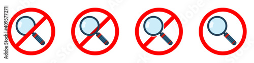 Stop or ban red round sign with magnifier icon Fototapeta