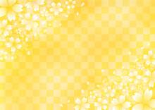 桜と市松模様 華やかな和風イラスト背景素材(金色)