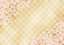 桜と金箔と市松模様 高級感のある和風背景素材(ベージュ)
