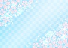桜と市松模様と光 華やかな和風イラスト背景素材(青)