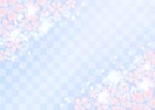桜と市松模様と光 華やかな和風イラスト背景素材(青紫色)