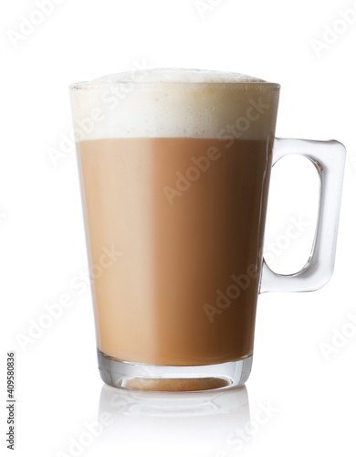 Photo cappuccino in cup isolated on white