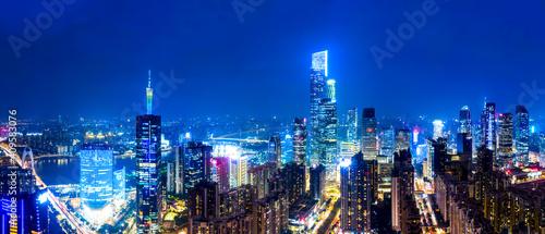 Aerial photography Guangzhou CBD architectural landscape skyline twilight
