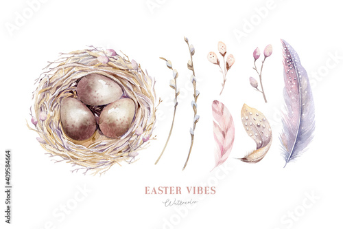 Canvas Print Watercolor happt easter nest with bird eggs with branch and feather isolated on white