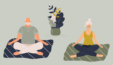 Elderly Funny Woman And Man In Yoga Lotus Position Doing Meditation, Mindfulness Practice,spiritual Discipline At Home Or Gym.Cute Old Lady And Male Sitting On Mat And Meditating.Raster Illustration