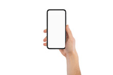 Male Hand Holding Cellphone With White Blank Empty Screen