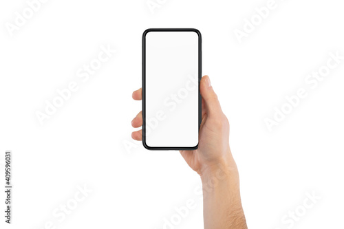 Fototapeta Male hand holding cellphone with white blank empty screen