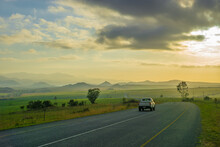 Early Morning Sunlight On The N17 Of The South African National Roads Agency Near The Border With Eswatini.