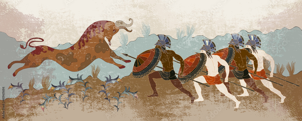 Fototapeta Minoan civilization. Ancient Greece banner. Hunting for a Minotaur. Classical medieval style. Vector illustration