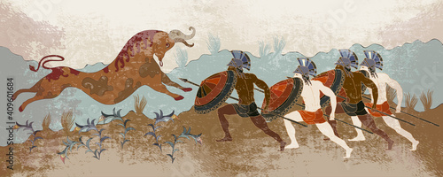 Minoan civilization. Ancient Greece banner. Hunting for a Minotaur. Classical medieval style. Vector illustration