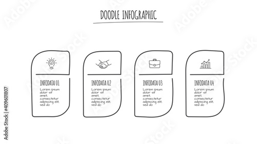 Fototapety, obrazy: Doodle infographic elements with 4 options. Hand drawn icons. Thin line illustration