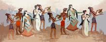 Minoan Civilization. Heraklion. Knossos Murals Mythology. Ancient Greece Frescos. Ancient Crete Art