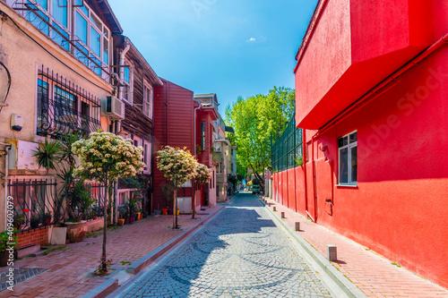 Fotografie, Obraz Arnavutkoy historical street view in Istanbul