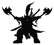 The Black Silhouette Of A Dwarf Warrior Brandishing Two Axes To The Sides, Two Swords Sheathed Behind Him, His Eyes Glowing In The Dark. 2d Illustration